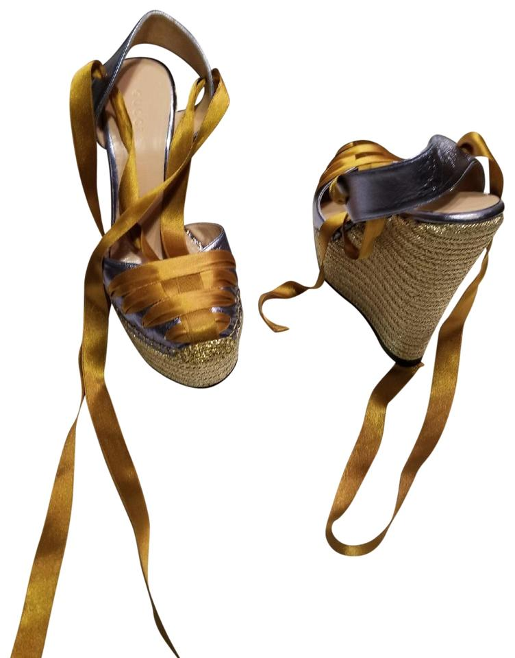 0ae77652adc03 Gucci Bronze Blue Metallic Leather and Satin Espadrille Sandal s Nwb Wedges