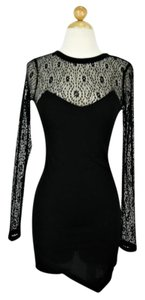 Miss Love Asymmetric Lace Trim Dress