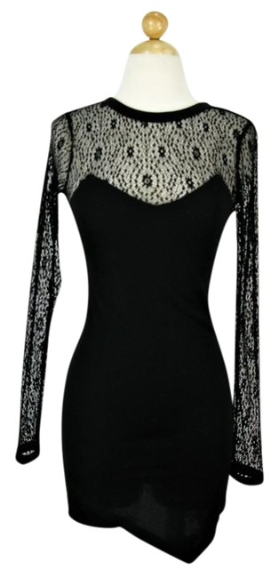 Item - Black Asymmetric Lace Cocktail Short Night Out Dress Size 12 (L)
