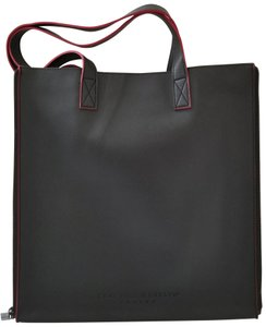 Crabtree & Evelyn Expandable Classic Saffiano Leather Tote in Black