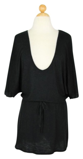 Item - Black One Star Slub Knit Plunging Tunic Cover-up/Sarong Size 4 (S)