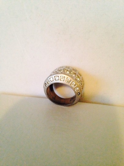 Other Matt Finish Silver-Tone & Cubic Zirconia Band Ring, Size 6.5