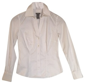 Ann Taylor Button Up Work Professional Inteview Button Down Shirt White