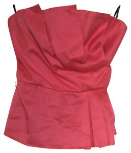 bebe Silk Pleated Strapless Fitted Back Zip Top Hot Pink / rose