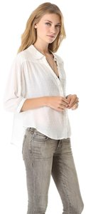 Free People Swiss Dot Sparrow Sleeve Bohemian Top white