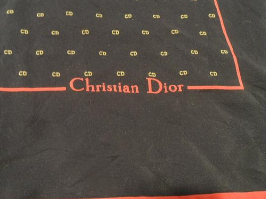 """Dior Classic Christian Dior silk 25"""" square scarf Blue with red edging and beige repeated logo"""