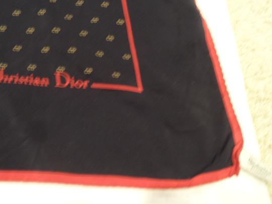 "Dior Classic Christian Dior silk 25"" square scarf Blue with red edging and beige repeated logo"