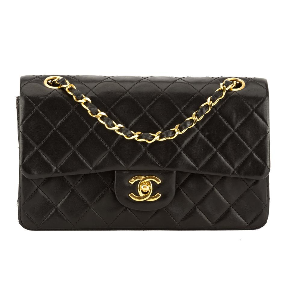 7a71559b64f4 Chanel Classic Flap Quilted Leather Small Double Pre Owned Black ...