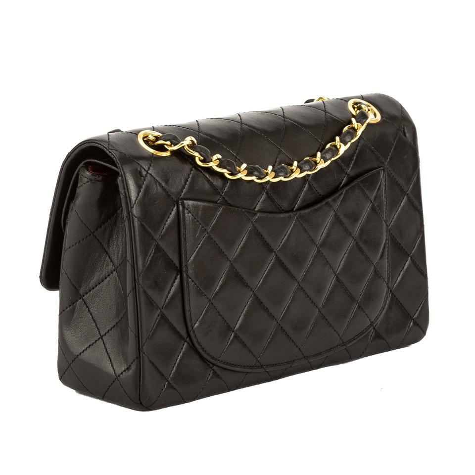 d7fda6fbd9ff Chanel Classic Flap Quilted Leather Small Double Pre Owned Black Lambskin  Shoulder Bag - Tradesy