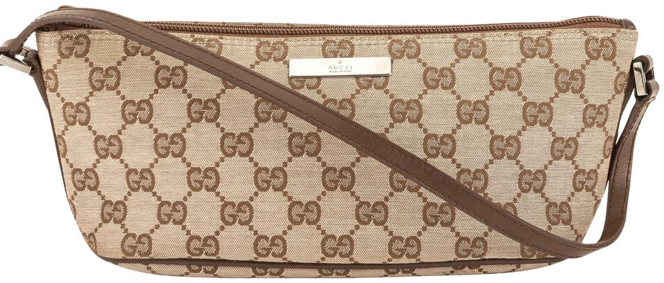 096b9ac4fd3 Gucci Gucci Brown Leather Pink GG Monogram Canvas Pochette Bag Pre Owned  Image 0 ...