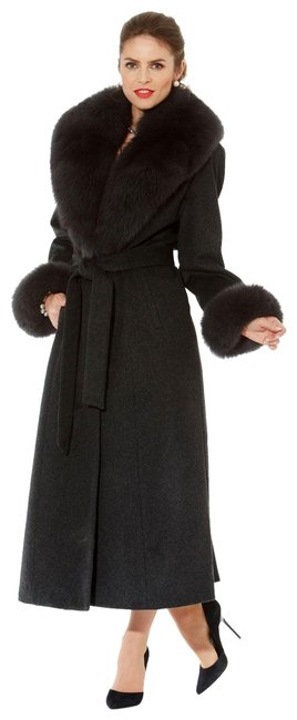 Item - Charcoal Grey Real Fox Fur Neckline and Cuffs Cashmere Coat Size 12 (L)