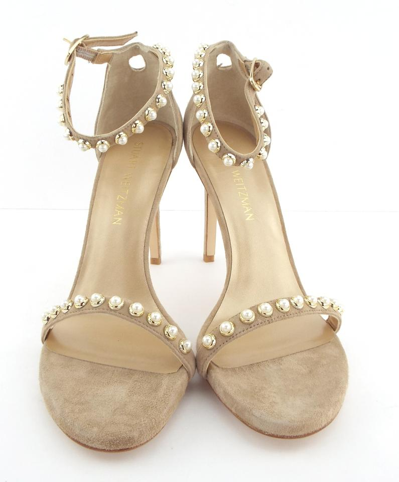 5c9b4b5e8ba7 Stuart Weitzman Mojave Suede Leather Pearl Ankle Strap Sandals Size US 8.5  Regular (M