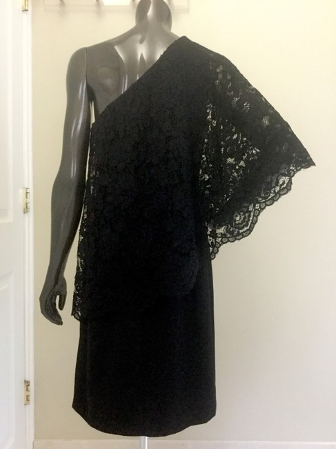 Nanette Lepore Cocktail Lace Cape One Shoulder Asymmetric Neckline Dress