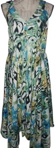 Multi (Green, Blue, Black, White, Yellow) Maxi Dress by Midnight Velvet Summer Whimsical Flowy