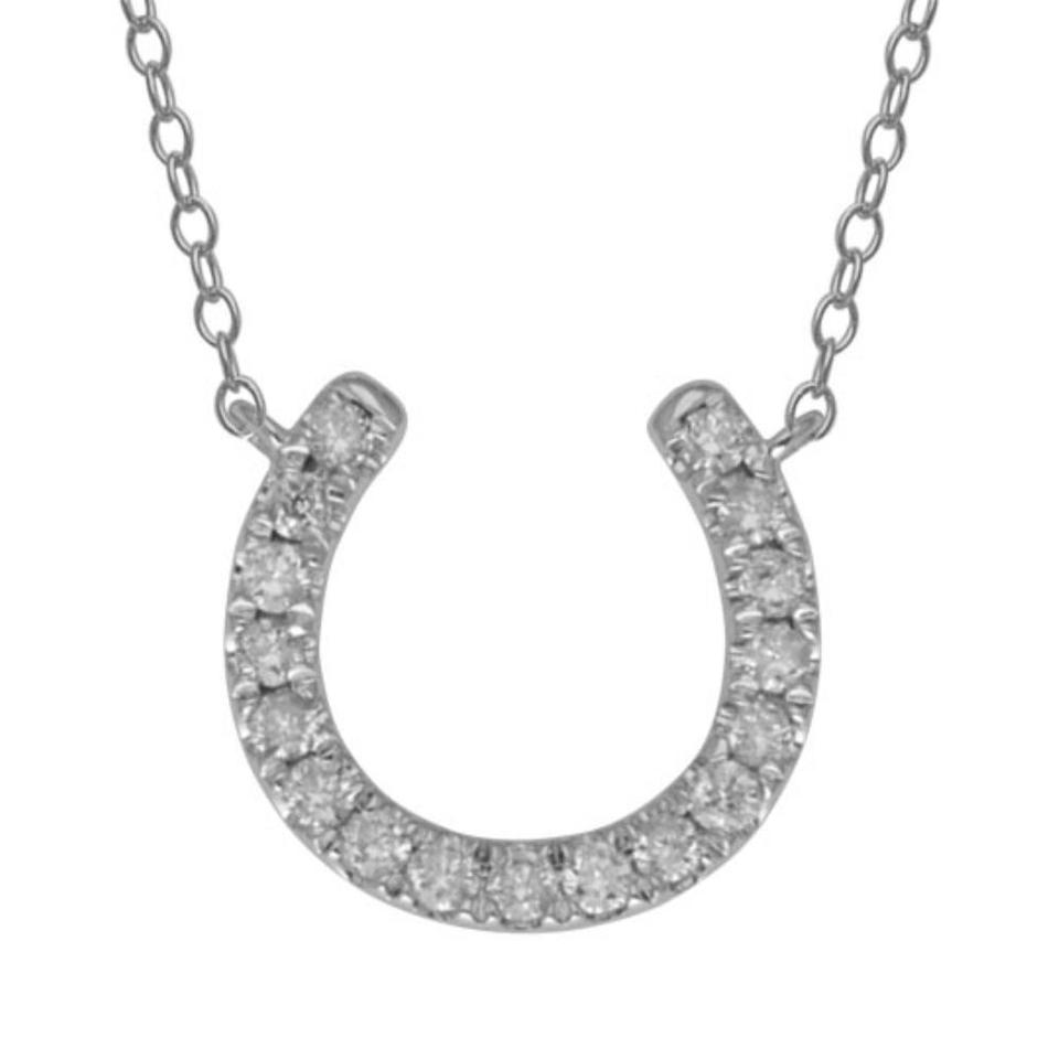 14kt white gold diamond horseshoe pendant necklace tradesy elizabeth jewelry 14kt white gold diamond horseshoe pendant aloadofball Image collections