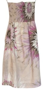 Jules & jim Smocked Strapless Linen Floral Dress