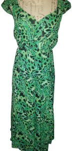 Green Multi Maxi Dress by Midnight Velvet Tiered Sheer Ankle Length Flowy