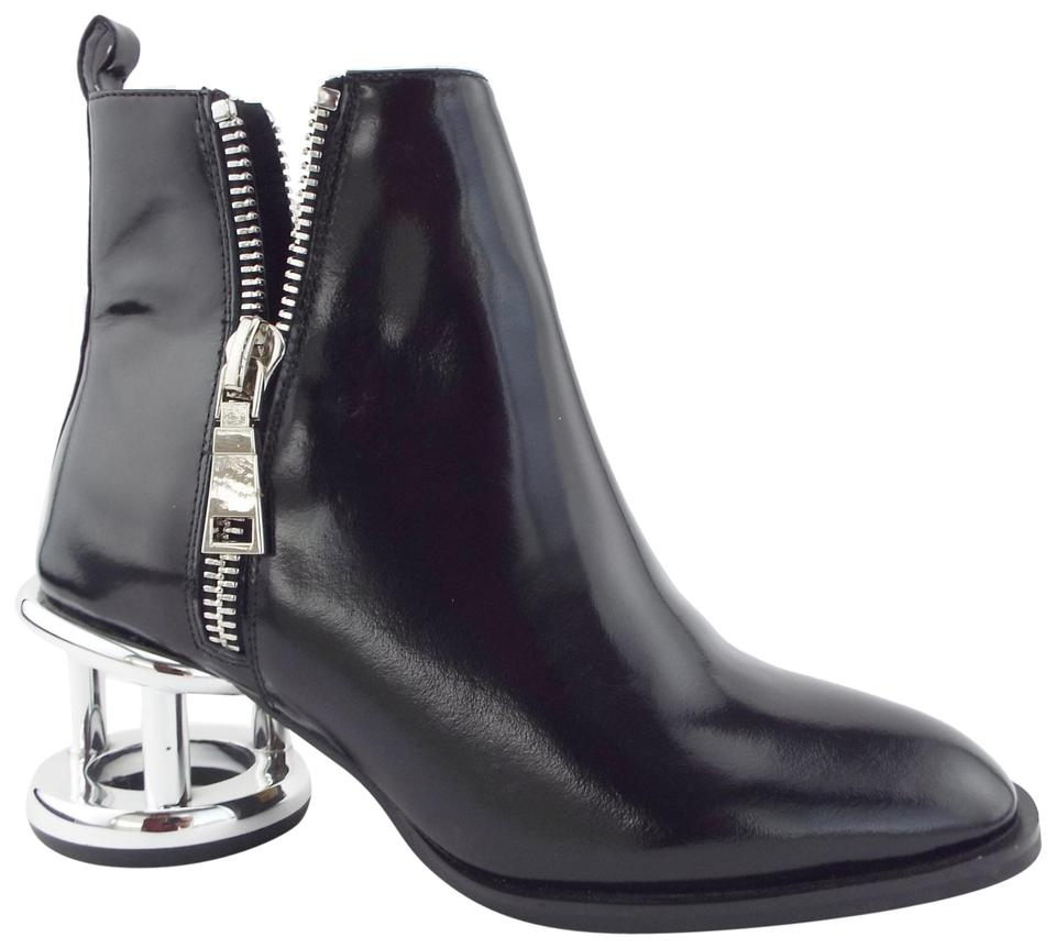 5d0a3491b12 Valentina Black Silver Block Heeled Ankle High Boots. Jeffrey Campbell  Boone Cage Boone Cage Black Boots …