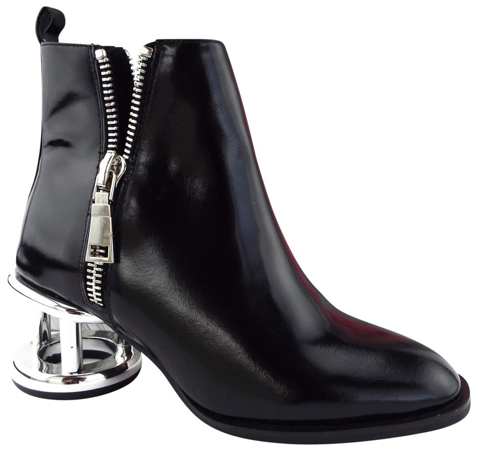 e1d11bf88 Jeffrey Campbell Black Leather Silver Cage Heel Ankle Boots/Booties ...