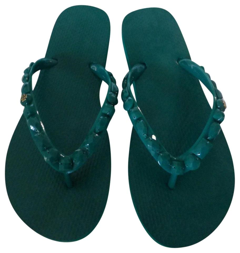 4cf991d1a583 Tory Burch Emerald Nwb Jeweled Thin Flip Flop Sandals Size US 7 ...