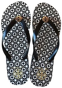 Tory Burch Rubber Size 9 Black , White Sandals