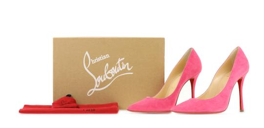 Christian Louboutin Decoltish 100 Suede Pink Pumps Image 11