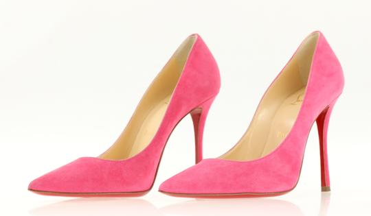 Christian Louboutin Decoltish 100 Suede Pink Pumps Image 3