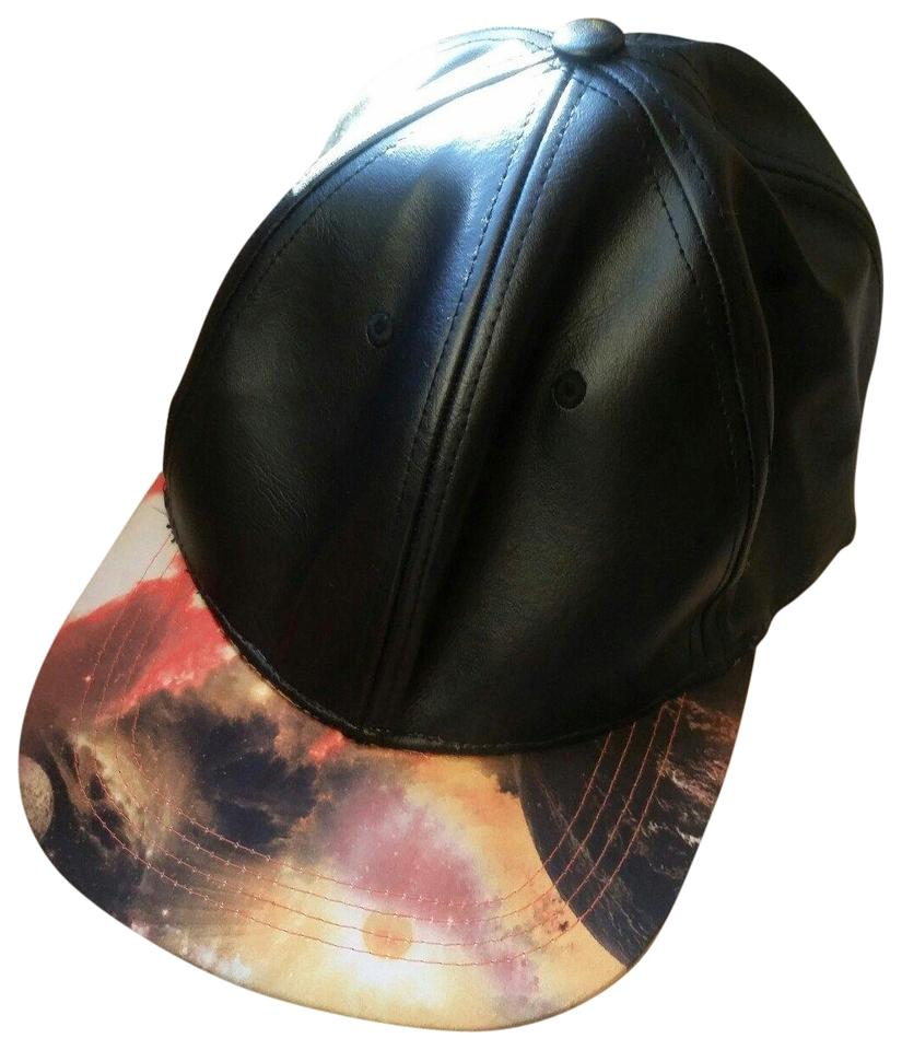fb539a5fd80057 Black Leather Snapback Cap with Printed Bill Hat - Tradesy