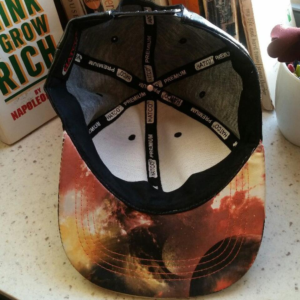 f5d087a269a444 hatco Leather snapback cap with printed bill Image 3. 1234