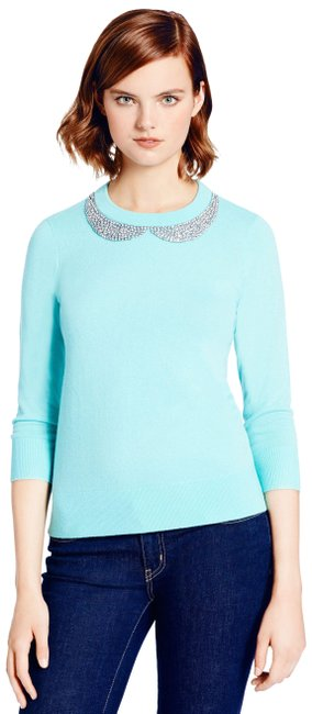 Kate Spade Tippy Embroidered-collar Blue Sweater Kate Spade Tippy Embroidered-collar Blue Sweater Image 1