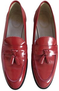 J.Crew Leather Bright Ruby Flats
