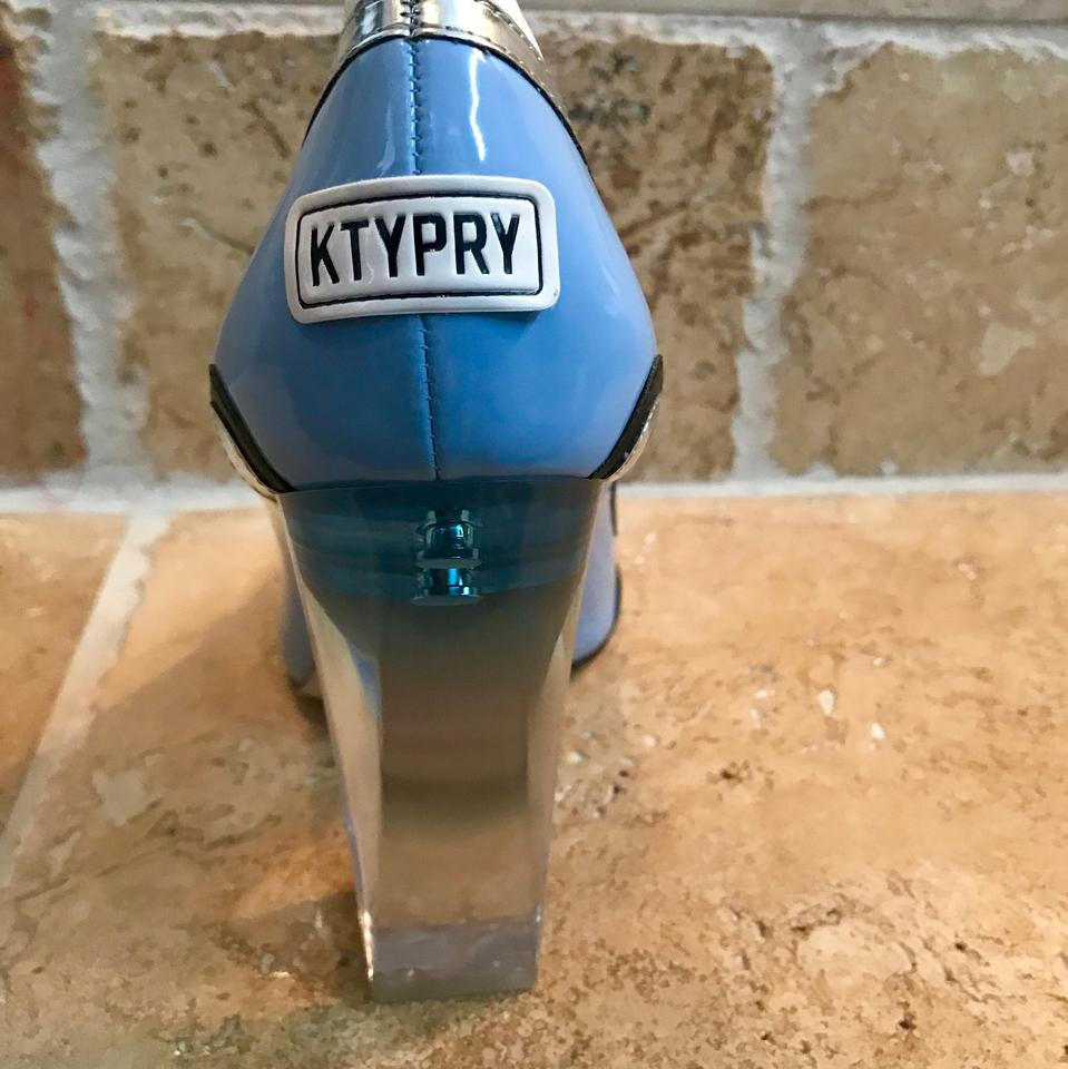 fd194414168 Katy Perry Blue Baby Race Car Thelma Lucite Heel Pumps Size US 8 ...