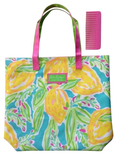 Item - Beach Multi Pink/Turquoise Canvas Tote