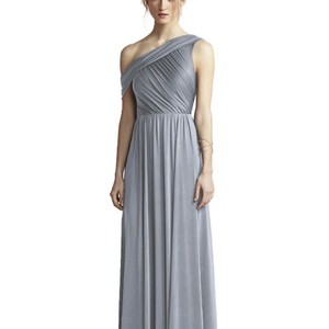 cba65eef05 Dessy Platinum Maracaine Jersey Jy502 Formal Bridesmaid Mob Dress Size 14  (L)