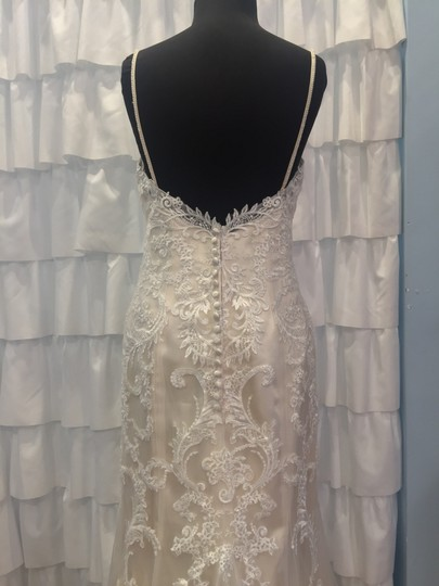 Christina Wu Ivory/Cafe/Silver 18029 Formal Wedding Dress Size 12 (L)