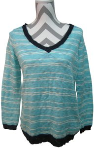 Vintage Havana Elbow Patches Stripes V-neck Long Sleeves Sweater
