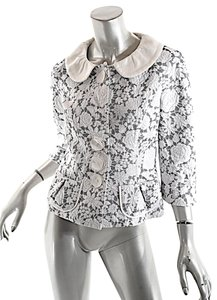Louis Vuitton Embossed / Floral Black and White Jacket