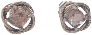 David Yurman Sterling Silver Infinity Earrings with Morganite