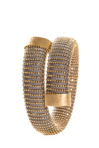 Carolina Bucci Grey & Gold Crossover Memory Wire Bracelet