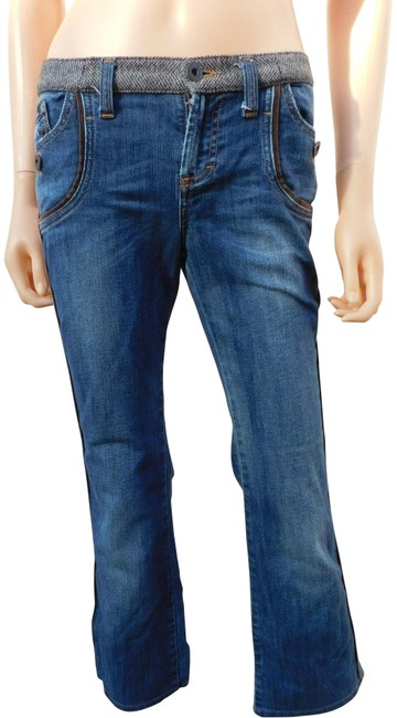 Item - Blue Distressed XS D & G Fanaticos Del Denim S Vintage Look Italy Boot Cut Jeans Size 27 (4, S)