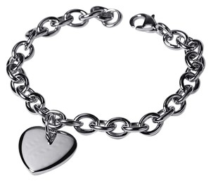 NY Collection Womens Heart Love Charm Cable Link Bracelet Solid Stainless Steel