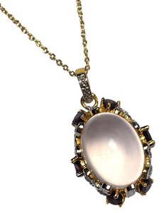 NY Collection Womens Cabochon Quartz Oval Pendant Necklace Gold Sterling Silver
