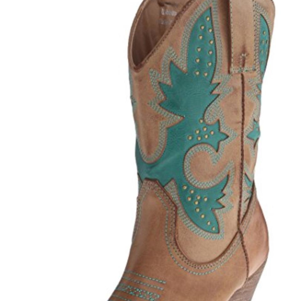 1c807f3b435 Very Volatile Tan and Teal Awesome Vegan Leather Heeled Cowboy  Boots/Booties Size US 7.5 Regular (M, B)