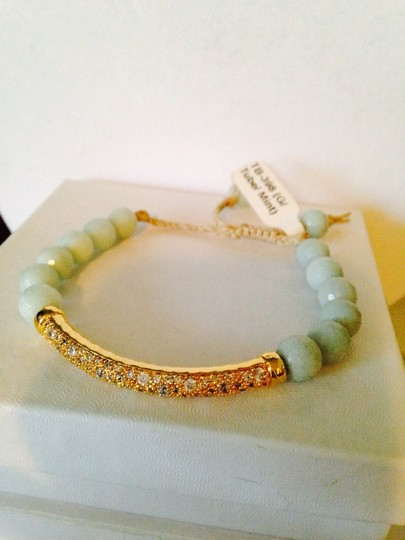 Tai Tai Faceted Green Agate Cubic Zirconia Tube-Station Cord Adjustable 14kt Gold Bracelet