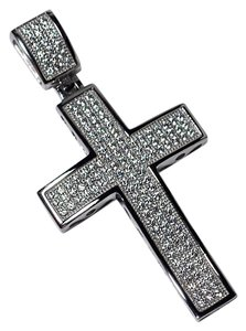 NY Collection Mens White CZ Religious Cross Pendant 925 Sterling