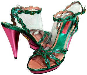 Betsey Johnson Leather Aqua and Pink Sandals