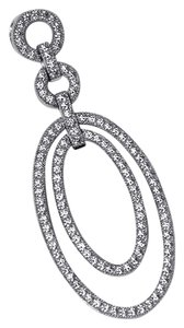 NY Collection Womens White CZ Openwork Double Oval Drop Pendant 925 Sterling