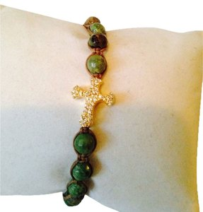 Tai NWOT Faceted Chrysocolla Gemstone Cross Bracelet
