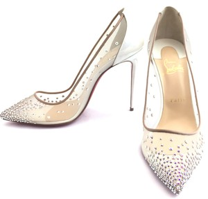 Christian Louboutin white, with crystals Pumps