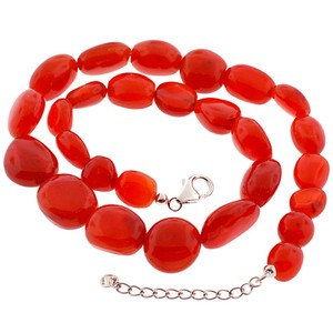 NY Collection Womens Natural Raw Carnelian Beaded Strand Necklace Sterling Silver
